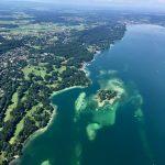 Umkehrpunkt über dem Starnberger See mit Roseninsel